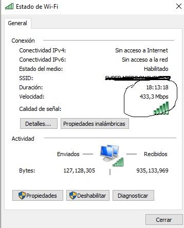 velocidad conexión wireless